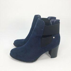 Attention Allexina Booties Navy Blue Block Heels7M